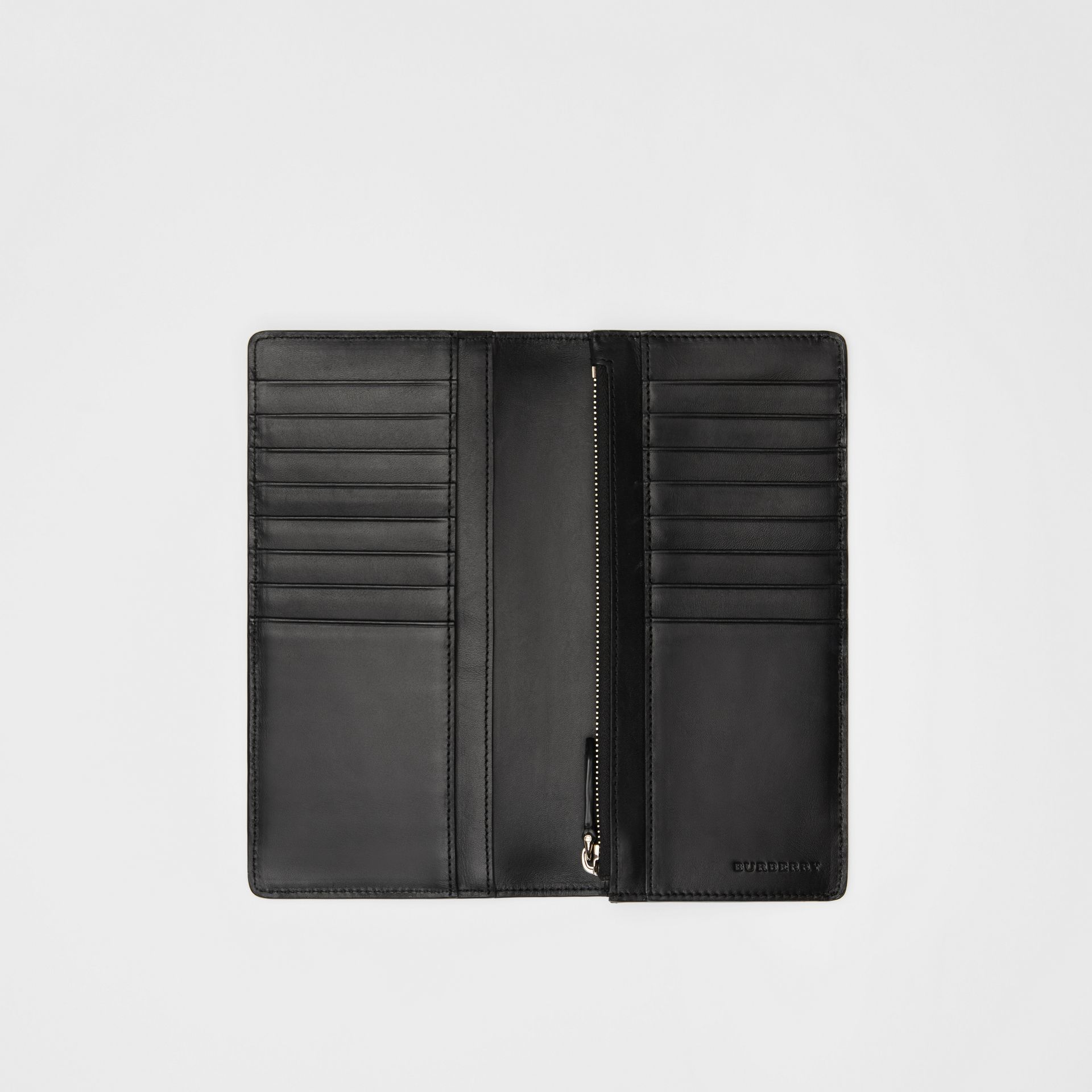 London Check and Leather Continental Wallet in Navy/black - Men | Burberry United Kingdom - gallery image 3