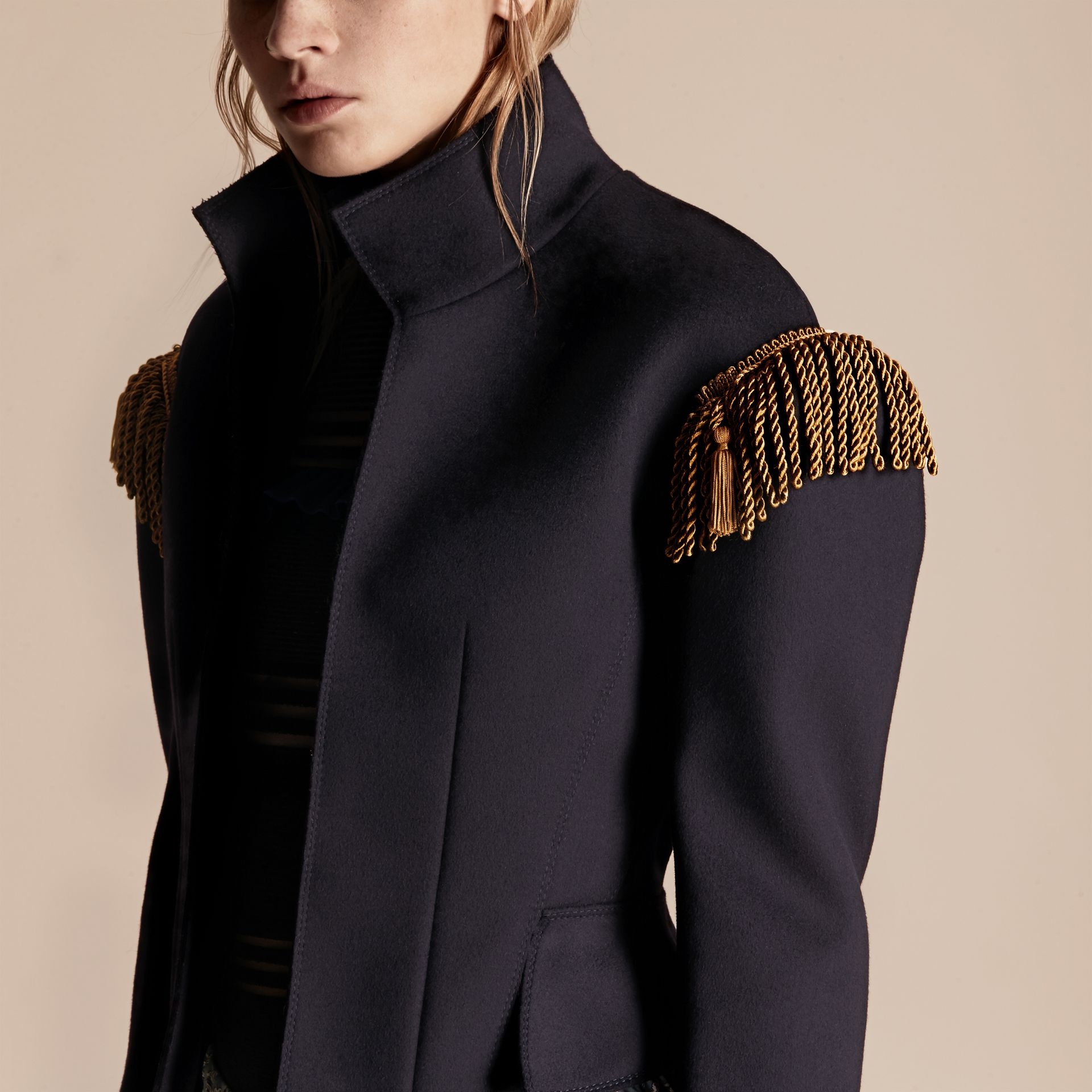 Dark navy Braided Detail Military Wool Jacket - gallery image 5