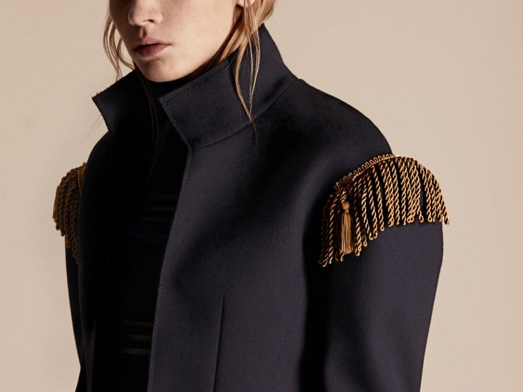 Dark navy Braided Detail Military Wool Jacket - cell image 4