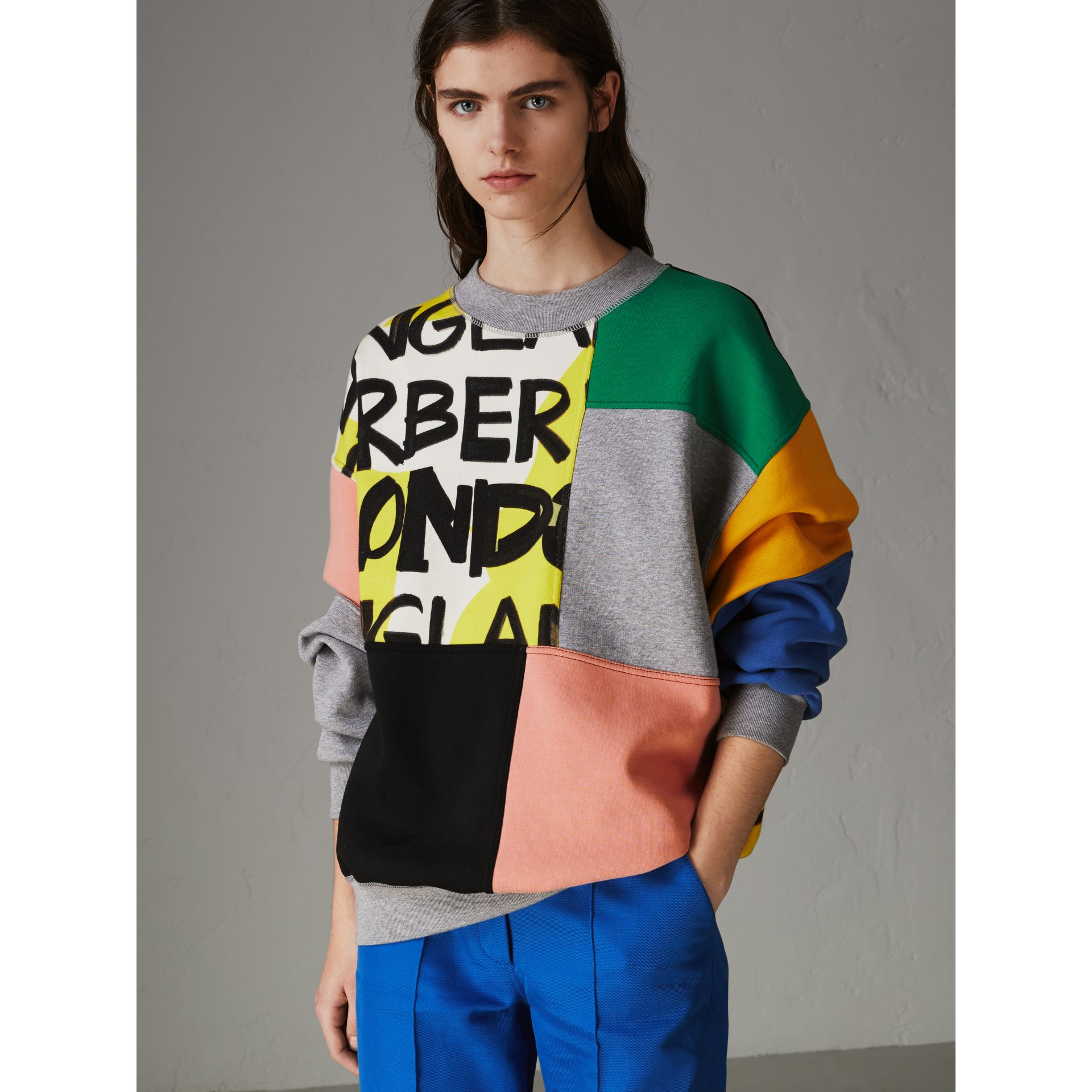 Graffiti Print Panel Cotton Blend Sweatshirt in Multicolour - Women | Burberry - gallery image 4