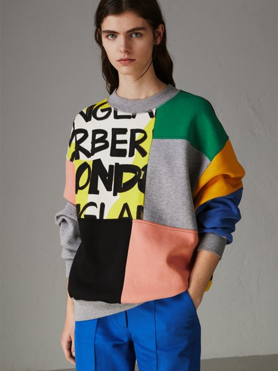 Graffiti Print Panel Cotton Blend Sweatshirt in Multicolour
