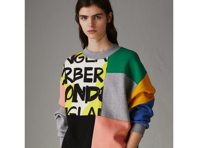 Graffiti Print Panel Cotton Blend Sweatshirt in Multicolour - Women | Burberry - cell image 4