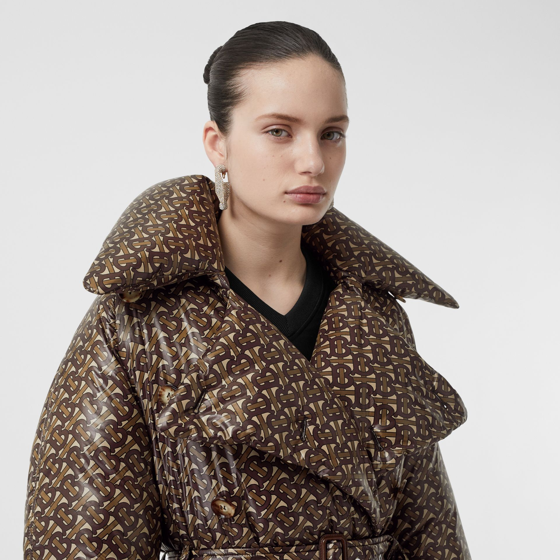 Monogram Print Nylon Down-filled Trench Coat in Bridle Brown - Women | Burberry - gallery image 1
