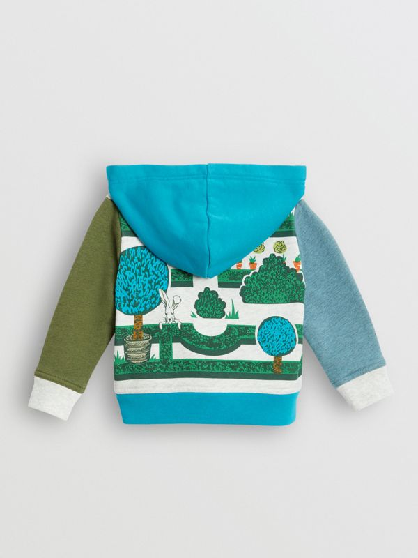 Hedge Maze Print Cotton Hooded Top in Multicolour - Children | Burberry - cell image 3