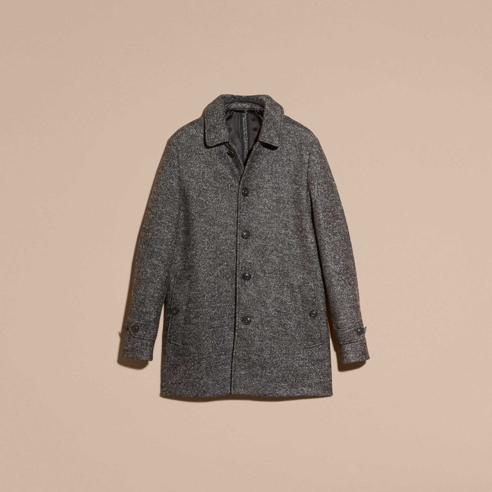 Mid grey melange Brushed Melange Wool Car Coat - gallery image 4