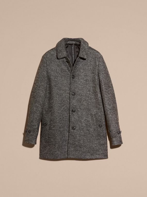 Mid grey melange Brushed Melange Wool Car Coat - cell image 3