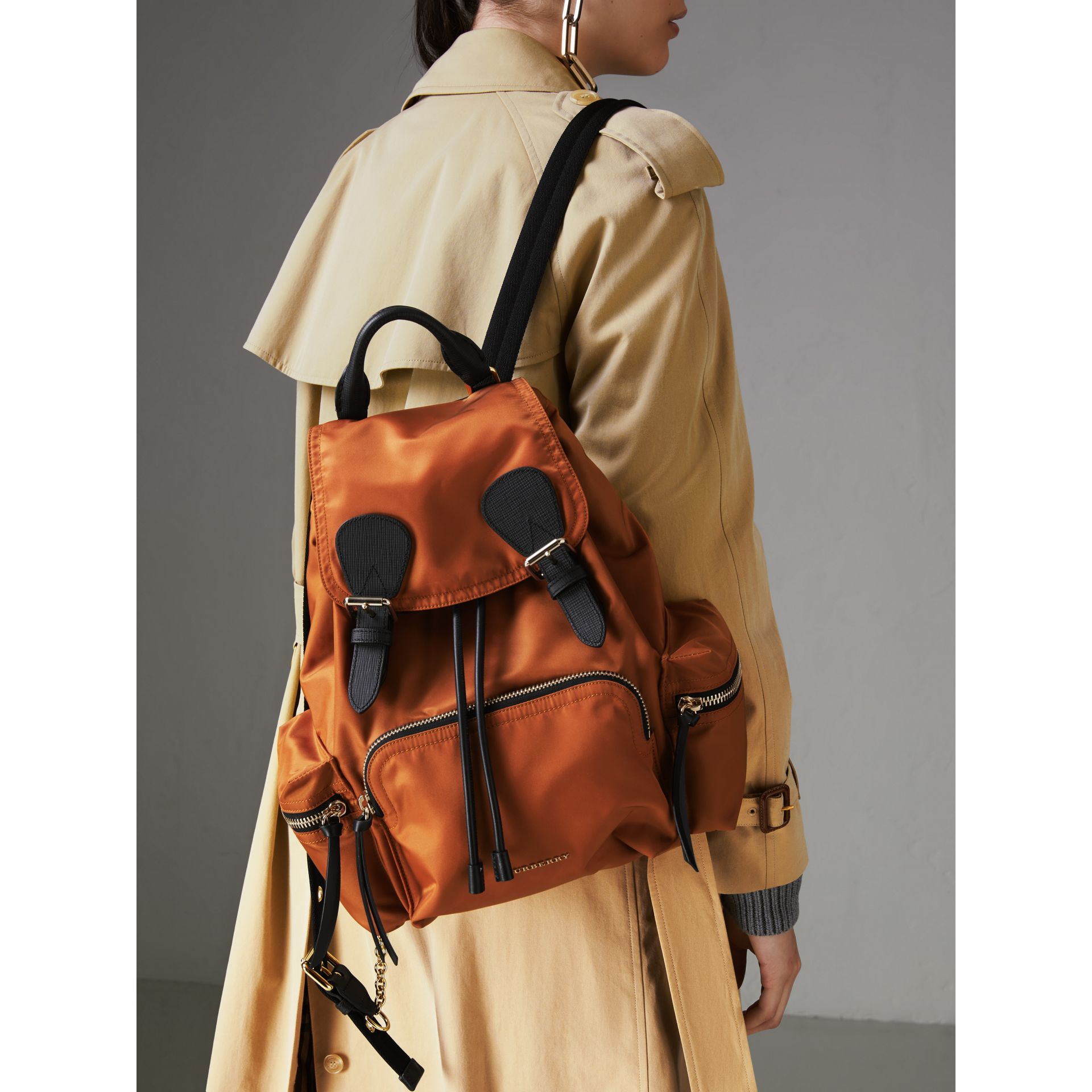 The Medium Rucksack in Technical Nylon and Leather in Clementine - Women | Burberry United States - gallery image 3