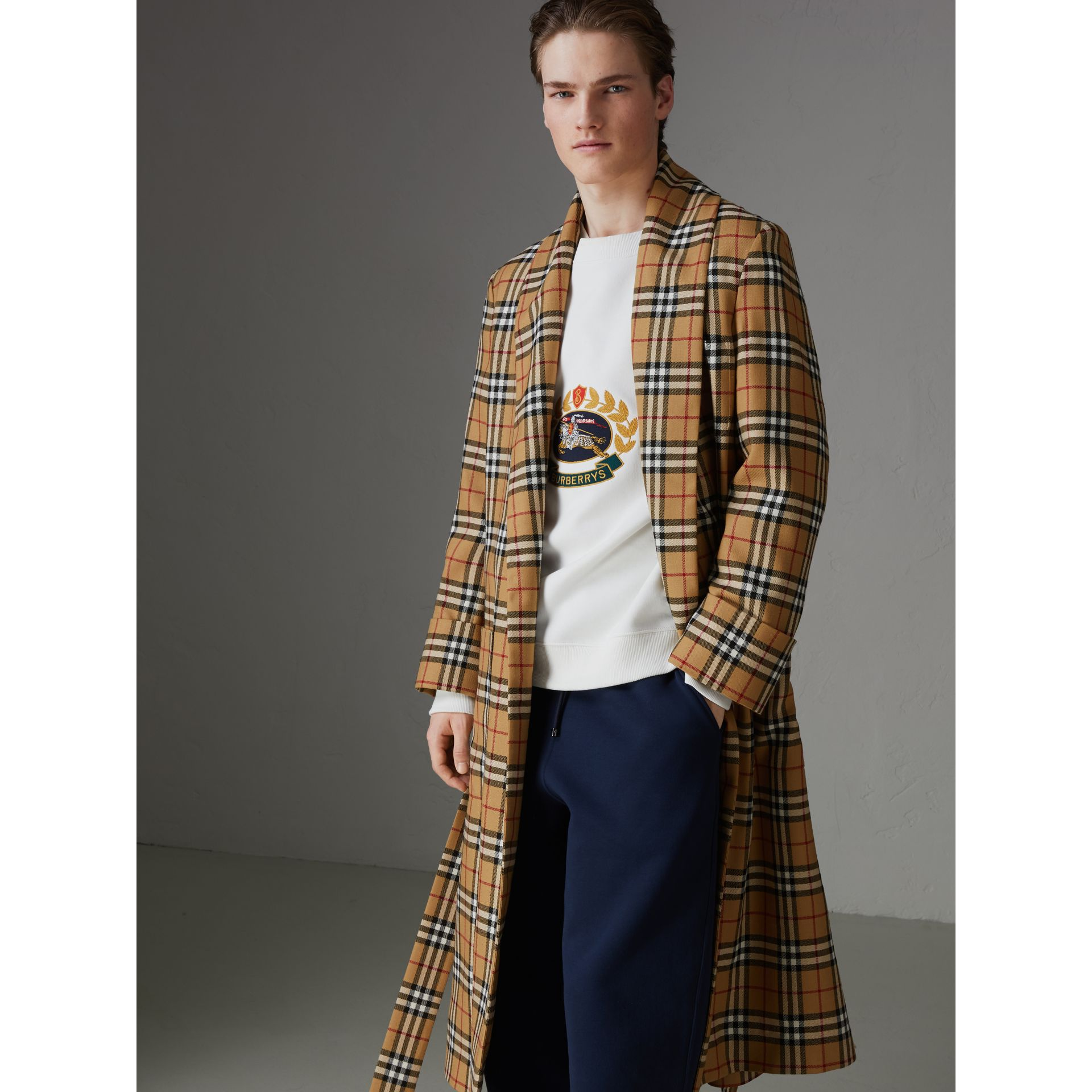 Reissued Vintage Check Dressing Gown Coat in Antique Yellow - Men | Burberry Australia - gallery image 6