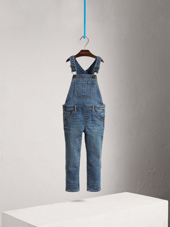 Salopette in denim stretch (Indaco Medio)