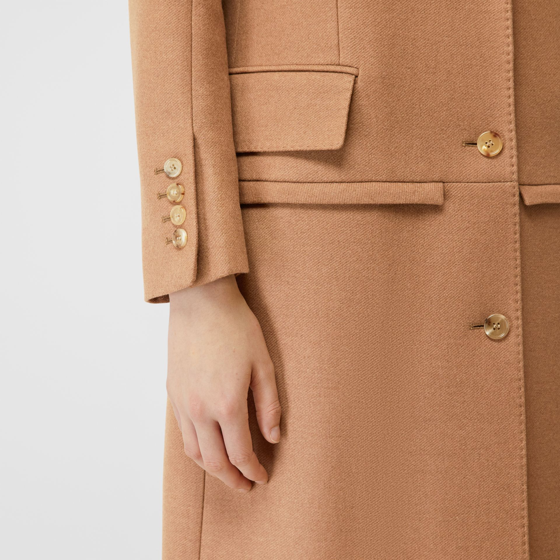 Camel Hair Tailored Coat with Detachable Gilet in Bronze - Women | Burberry - gallery image 7