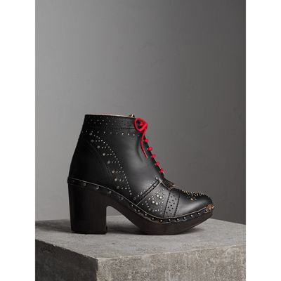 Runway Ss18 70Mm Studded Leather Boots, Black