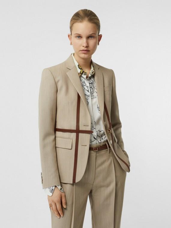 皮革繫帶細節羊毛套量裁製外套 (混合駝色)