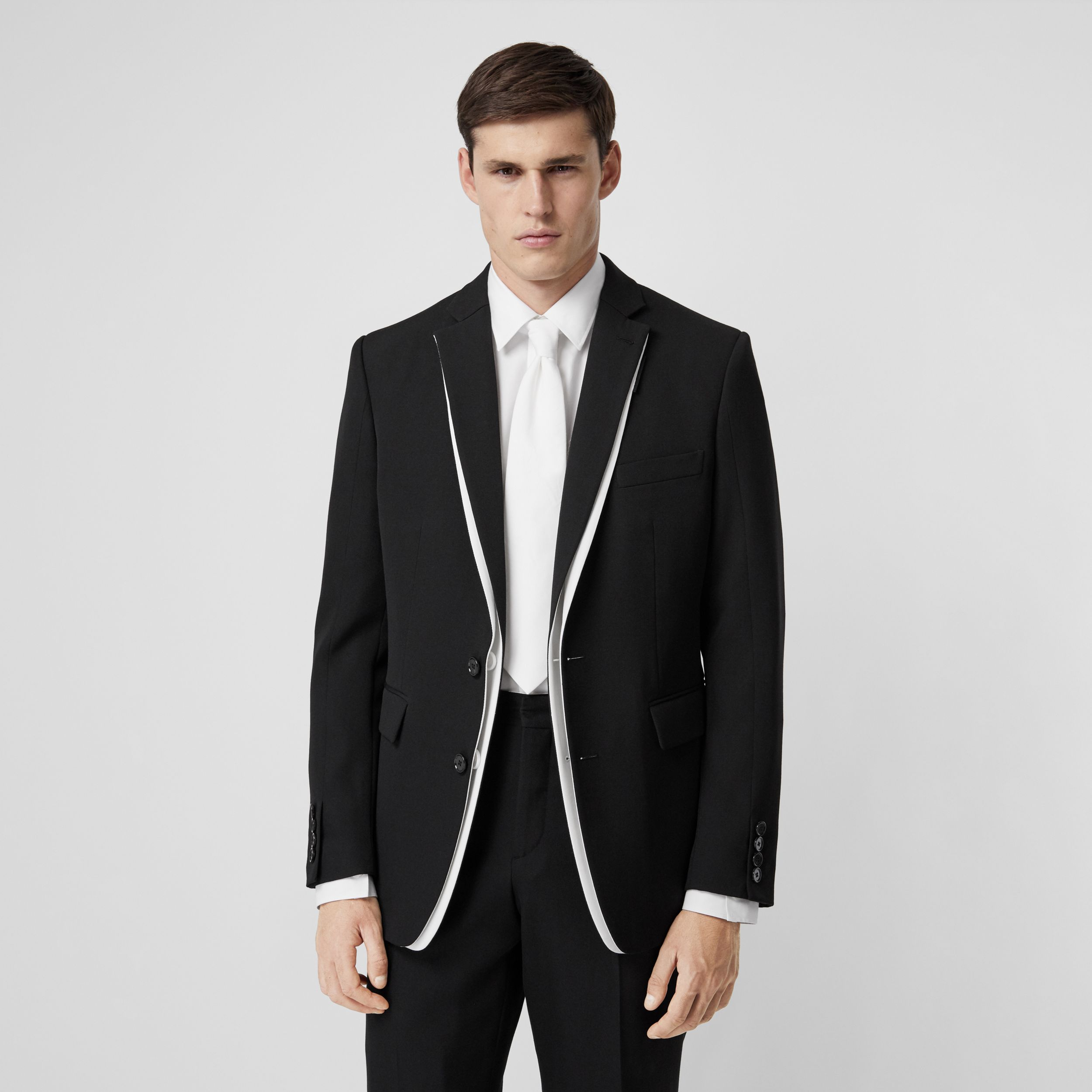 English Fit Double-front Detail Wool Tailored Jacket in Black - Men | Burberry United Kingdom - 1
