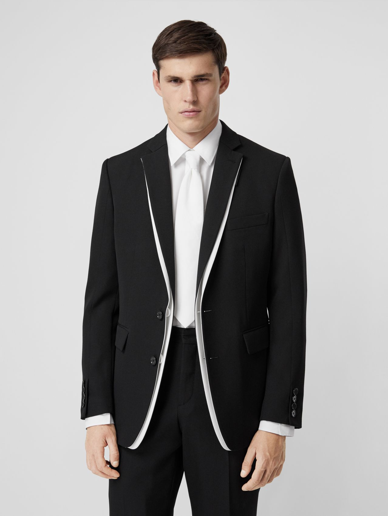English Fit Double-front Detail Wool Tailored Jacket in Black