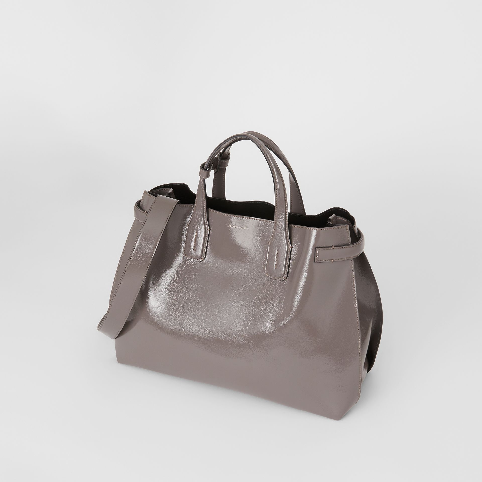 The Medium Soft Leather Banner in Sepia Grey - Women | Burberry - gallery image 3