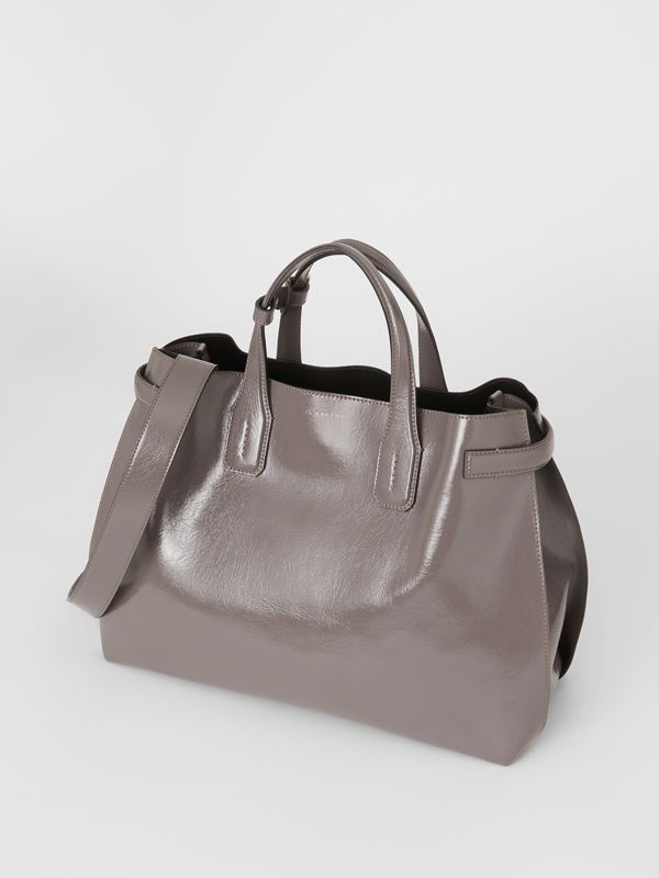 The Medium Soft Leather Banner in Sepia Grey - Women | Burberry - cell image 3