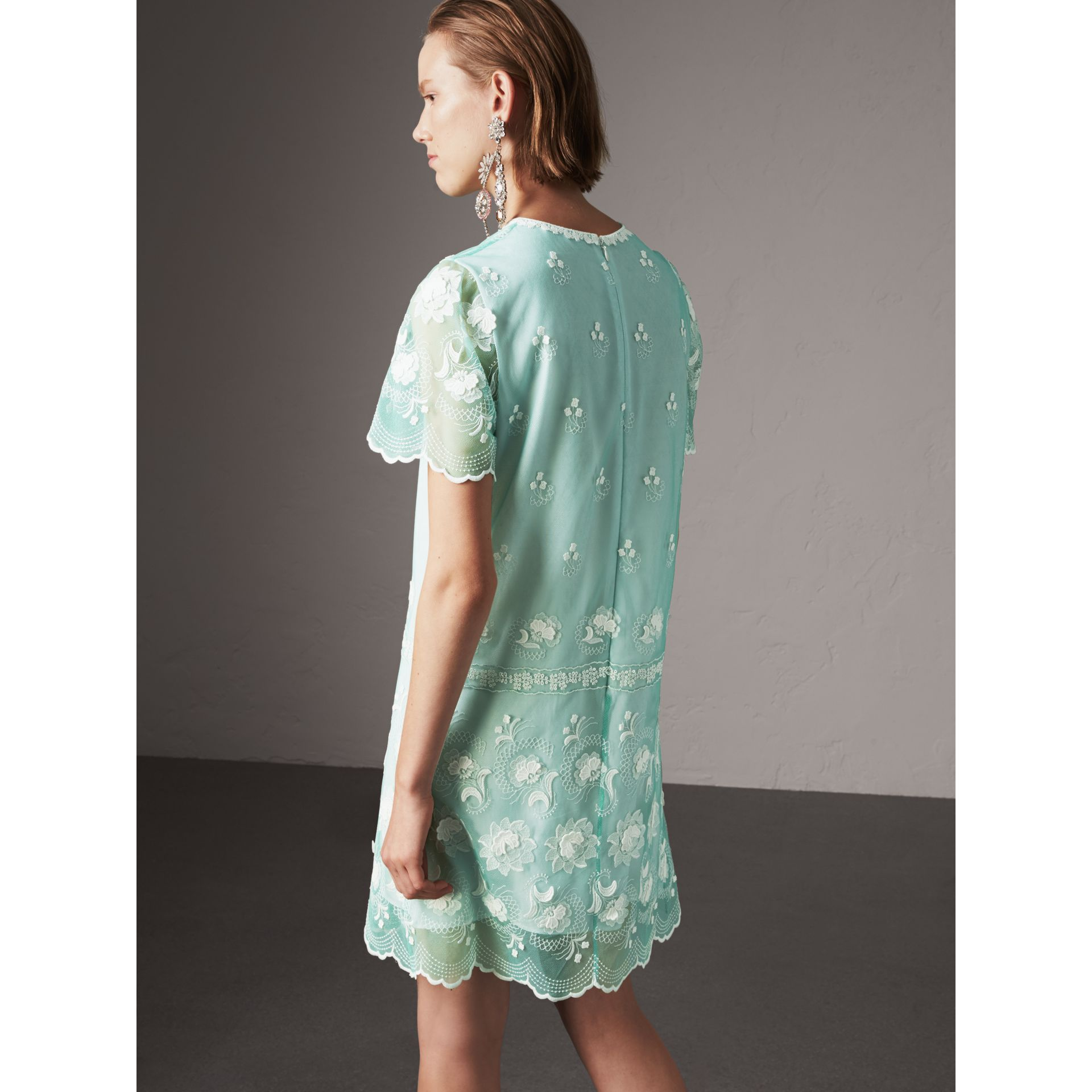 Short-sleeve Embroidered Tulle T-shirt Dress in Green - Women | Burberry United States - gallery image 2