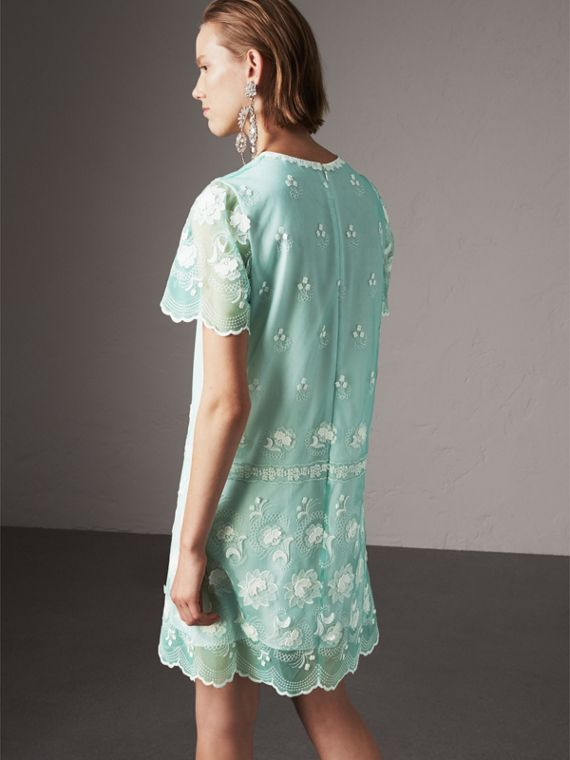 Short-sleeve Embroidered Tulle T-shirt Dress in Green - Women | Burberry - cell image 2