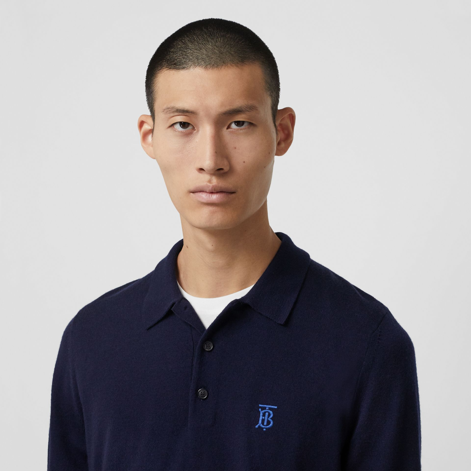 Long-sleeve Monogram Motif Merino Wool Polo Shirt in Navy - Men | Burberry - gallery image 1