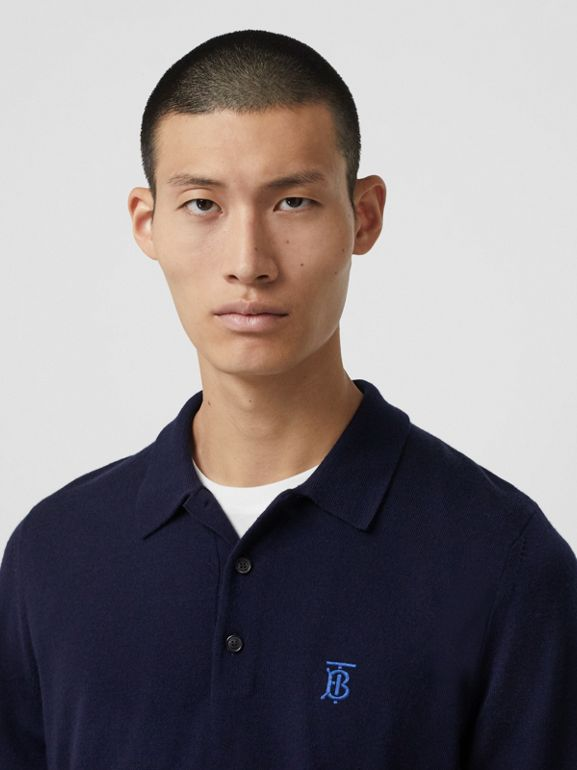 Long-sleeve Monogram Motif Merino Wool Polo Shirt in Navy - Men | Burberry Canada - cell image 1