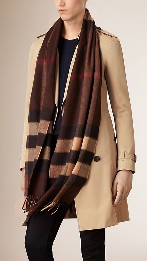 Dark chestnut brown check Giant Exploded Check Cashmere Scarf - Image 3
