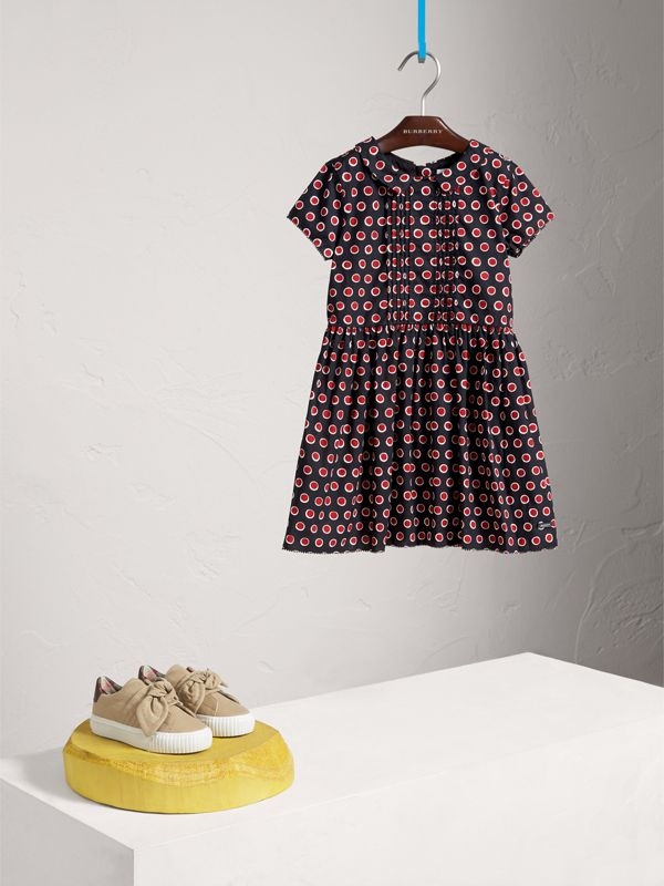 Pintuck Detail Spot Print Cotton Dress in Parade Red | Burberry - cell image 2