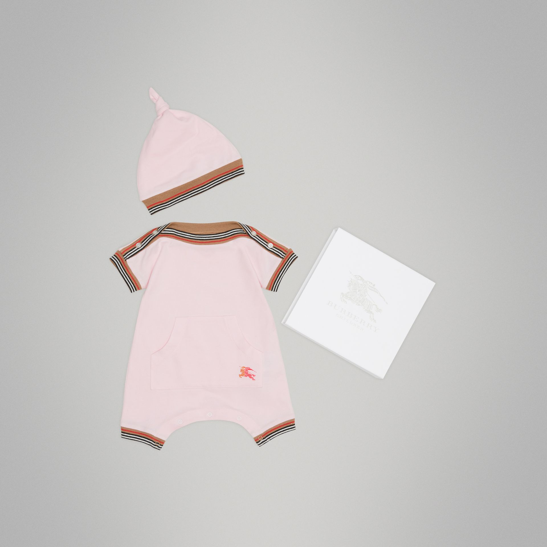 Heritage Stripe Cotton Piqué Two-piece Baby Gift Set in Powder Pink - Children | Burberry Hong Kong - gallery image 0