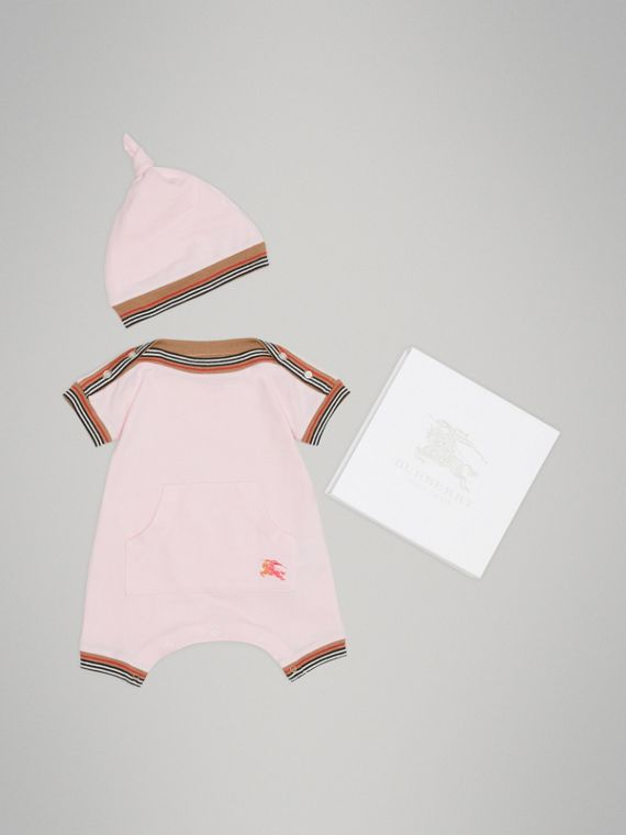 Heritage Stripe Cotton Piqué Two-piece Baby Gift Set in Powder Pink