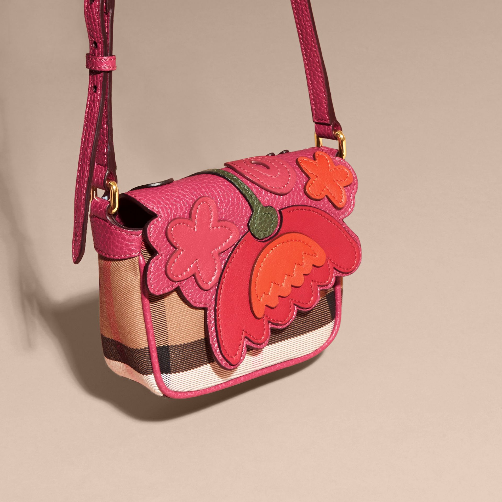 Multicolour Canvas Check and Floral Leather Crossbody Bag - gallery image 3