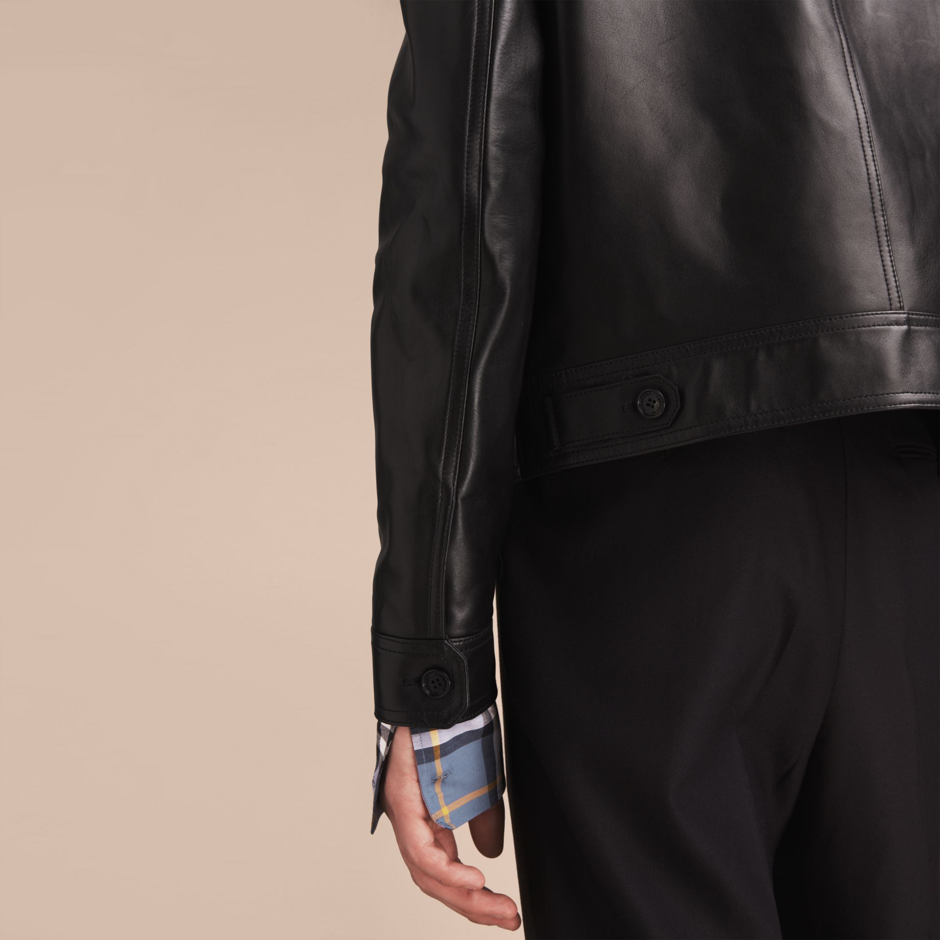 Leather Trucker Jacket with Pallas Heads Print Lining in Black - Men | Burberry Singapore - gallery image 6