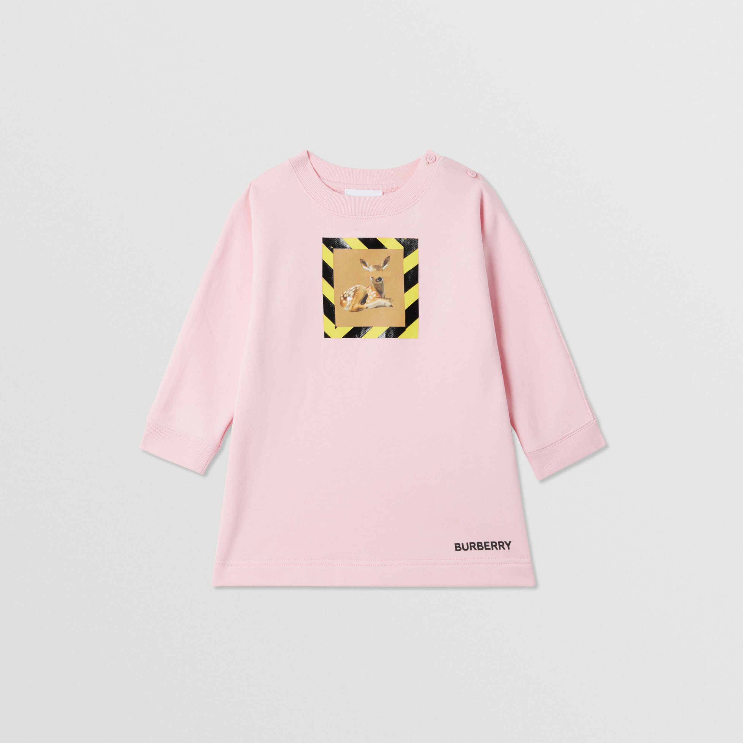 Deer Print Cotton Sweater Dress in Candy Pink - Children | Burberry - 1