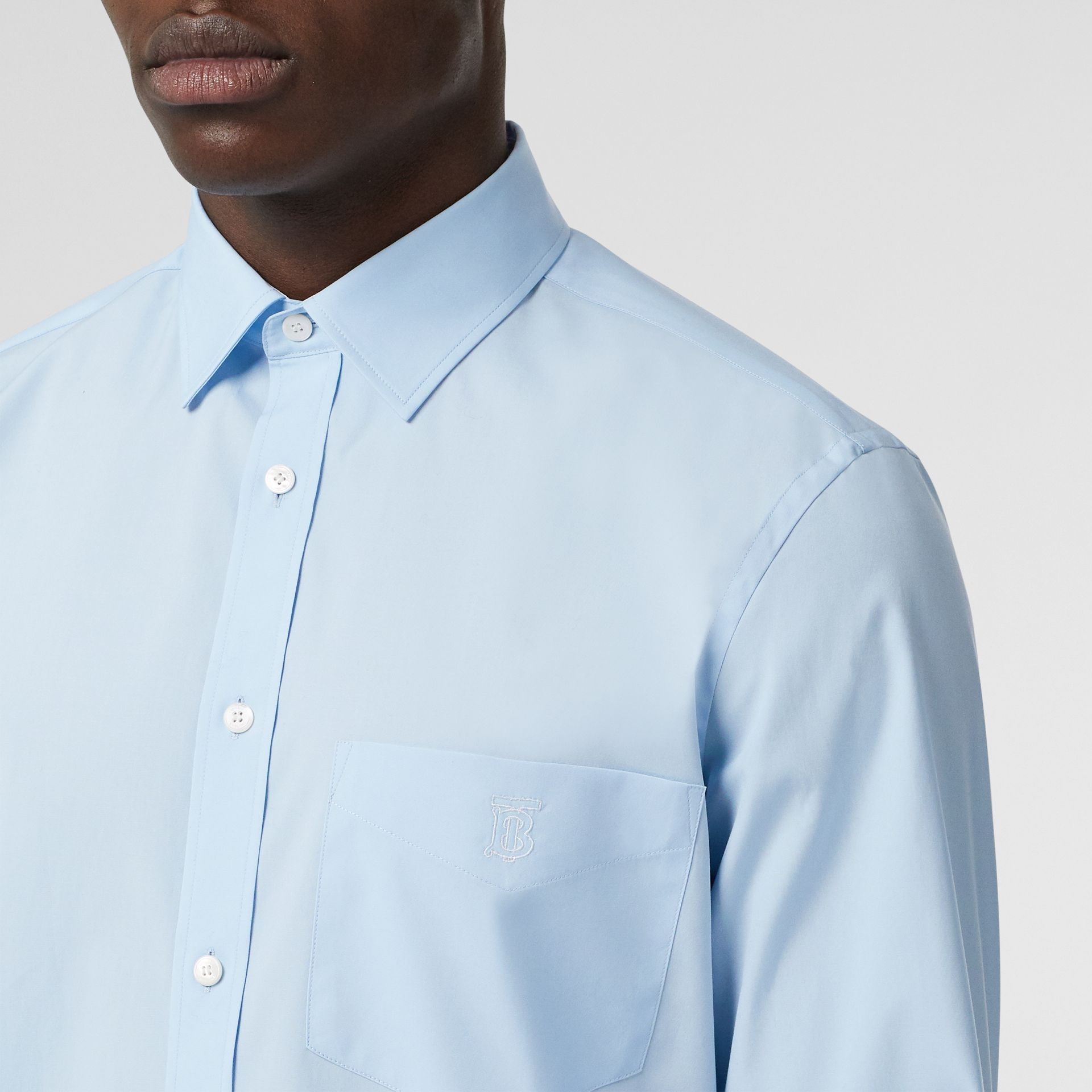 Monogram Motif Stretch Cotton Poplin Shirt in Pale Blue - Men | Burberry Canada - gallery image 1