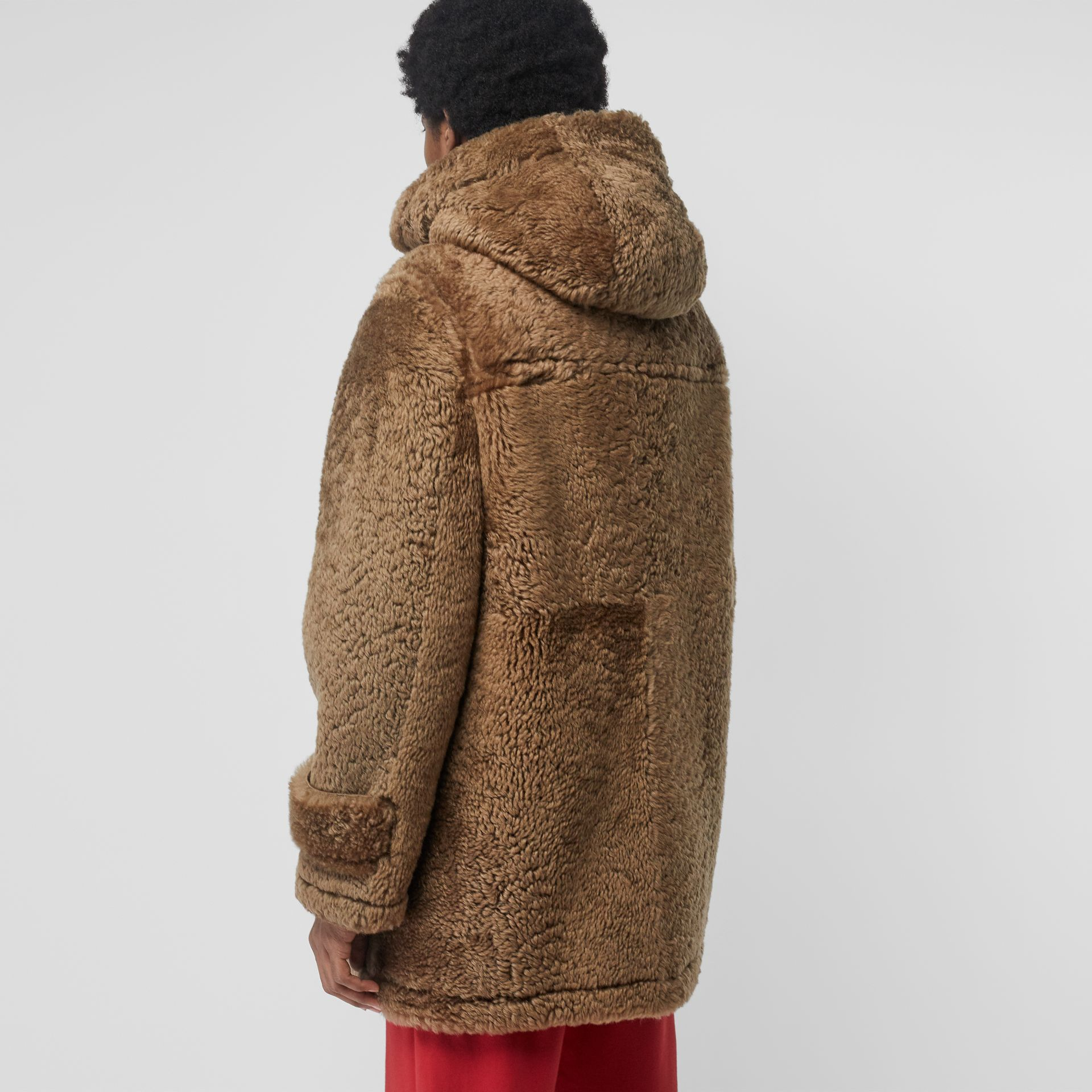 Shearling Duffle Coat in Taupe - Men | Burberry United Kingdom - gallery image 2