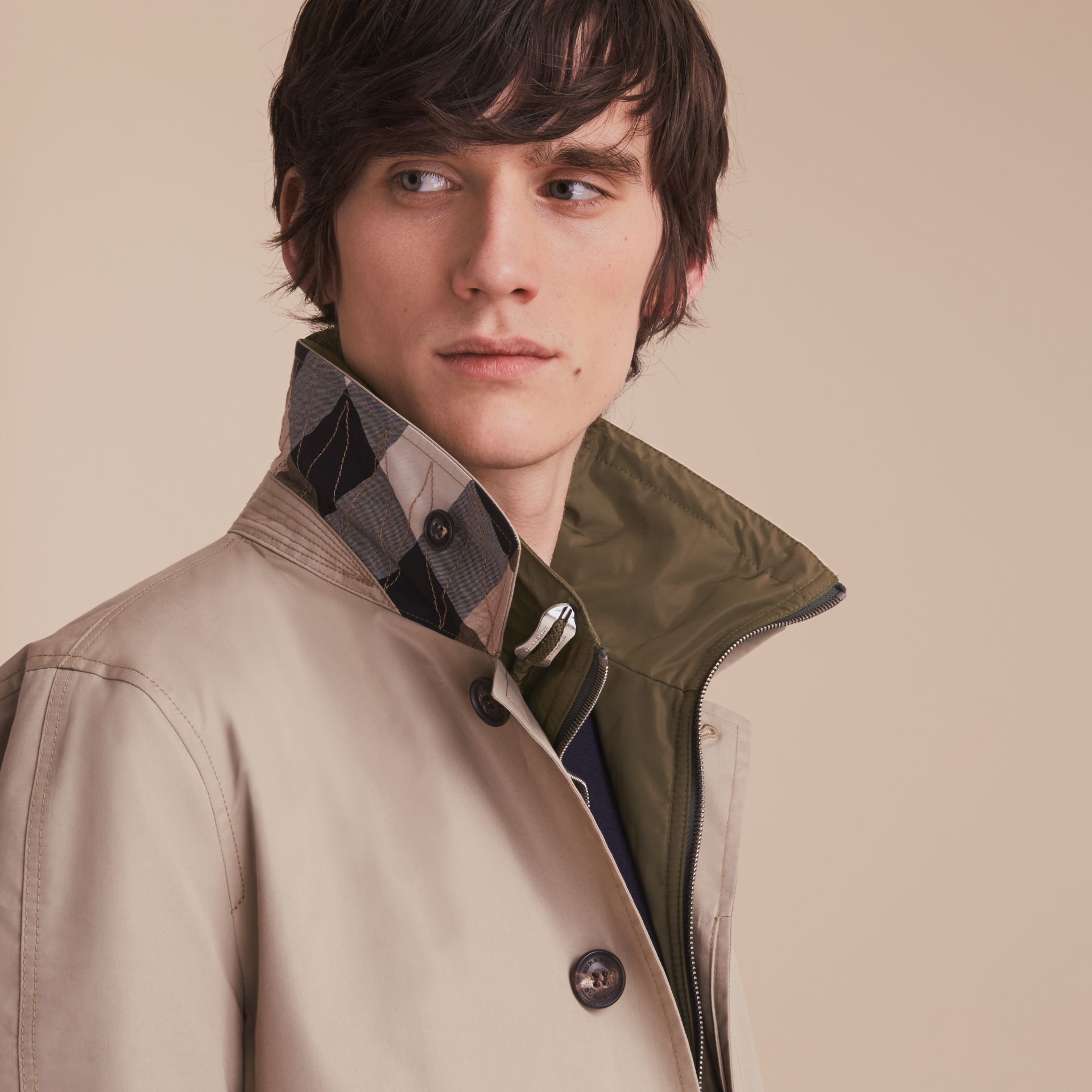 Lightweight Cotton Car Coat with Detachable Gilet Stone - gallery image 6