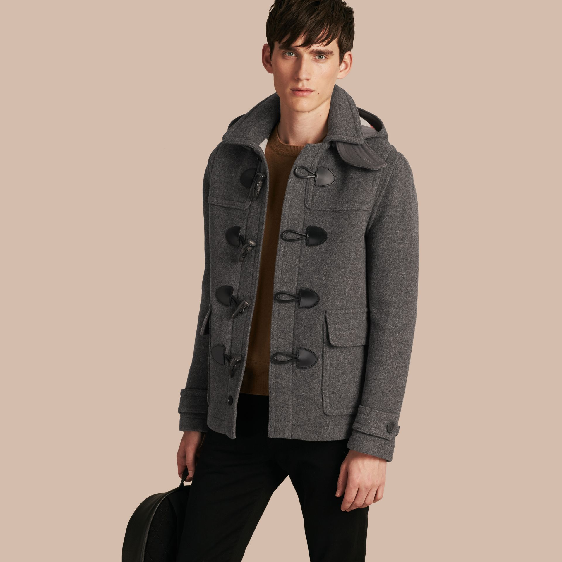 Mid grey melange Wool Detachable Hood Duffle Jacket - gallery image 1