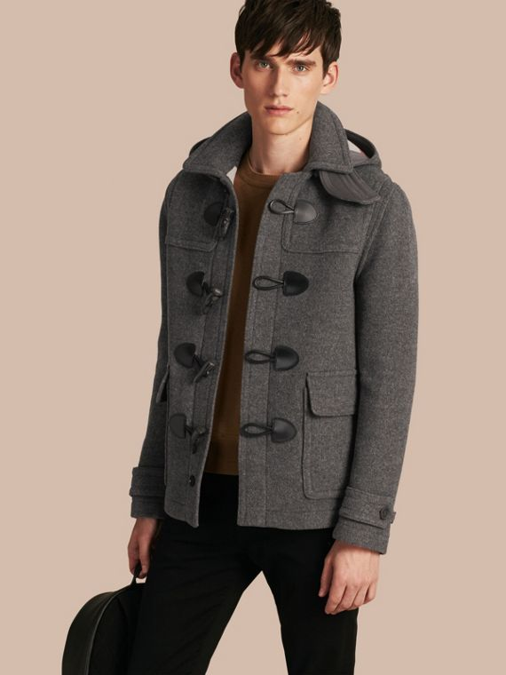 Wool Detachable Hood Duffle Jacket Mid Grey Melange
