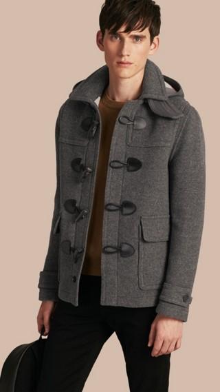 Veste duffle-coat en laine avec capuche amovible