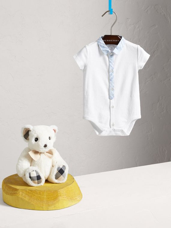 Check Detail Cotton Bodysuit in Ice Blue | Burberry Singapore - cell image 2