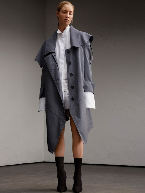 Tropical Gabardine Asymmetric Trench Coat with Exaggerated Details