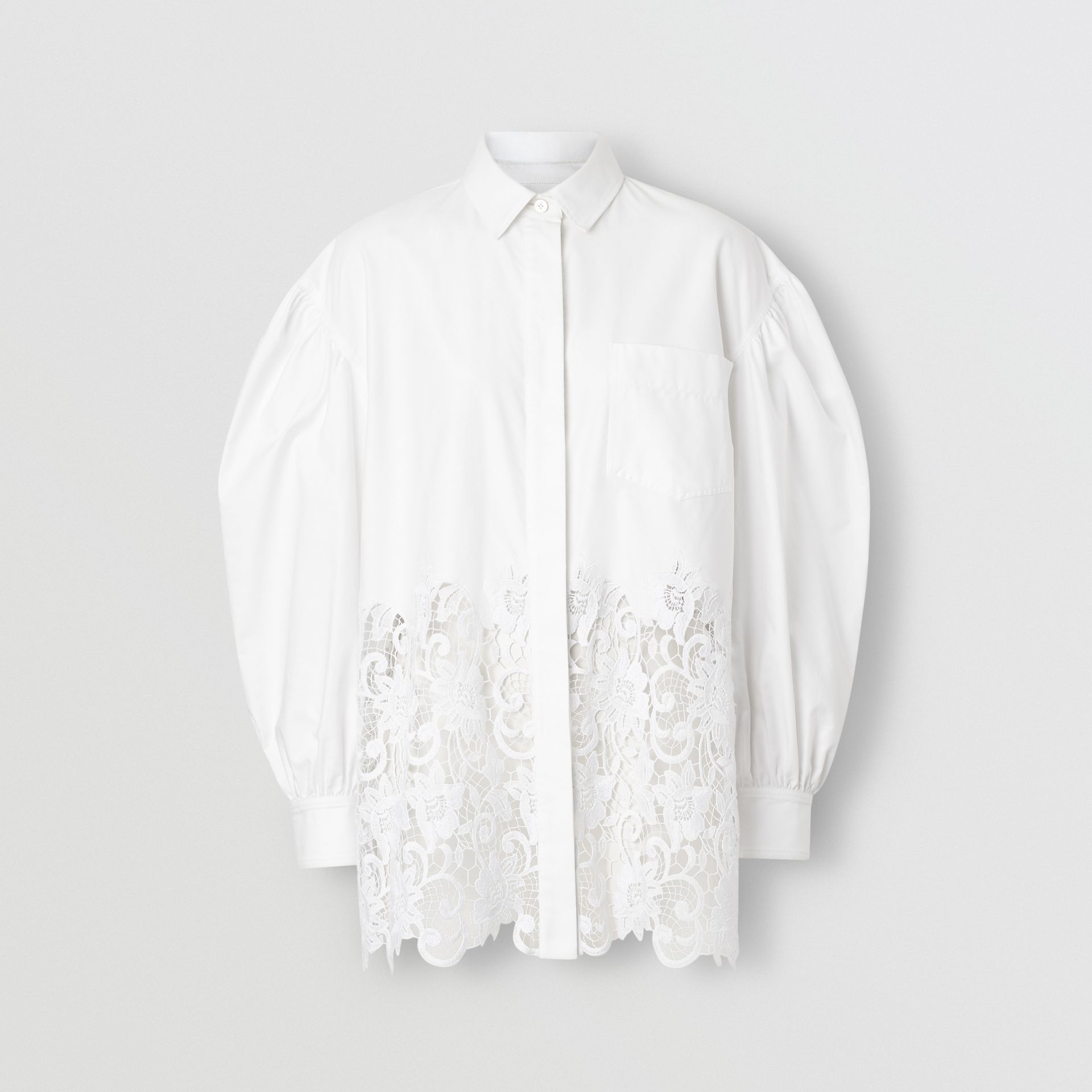Macramé Lace Panel Cotton Oxford Oversized Shirt in White | Burberry - gallery image 3