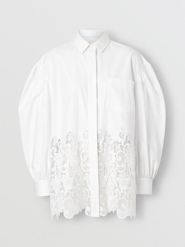 Macramé Lace Panel Cotton Oxford Oversized Shirt in White | Burberry - cell image 3
