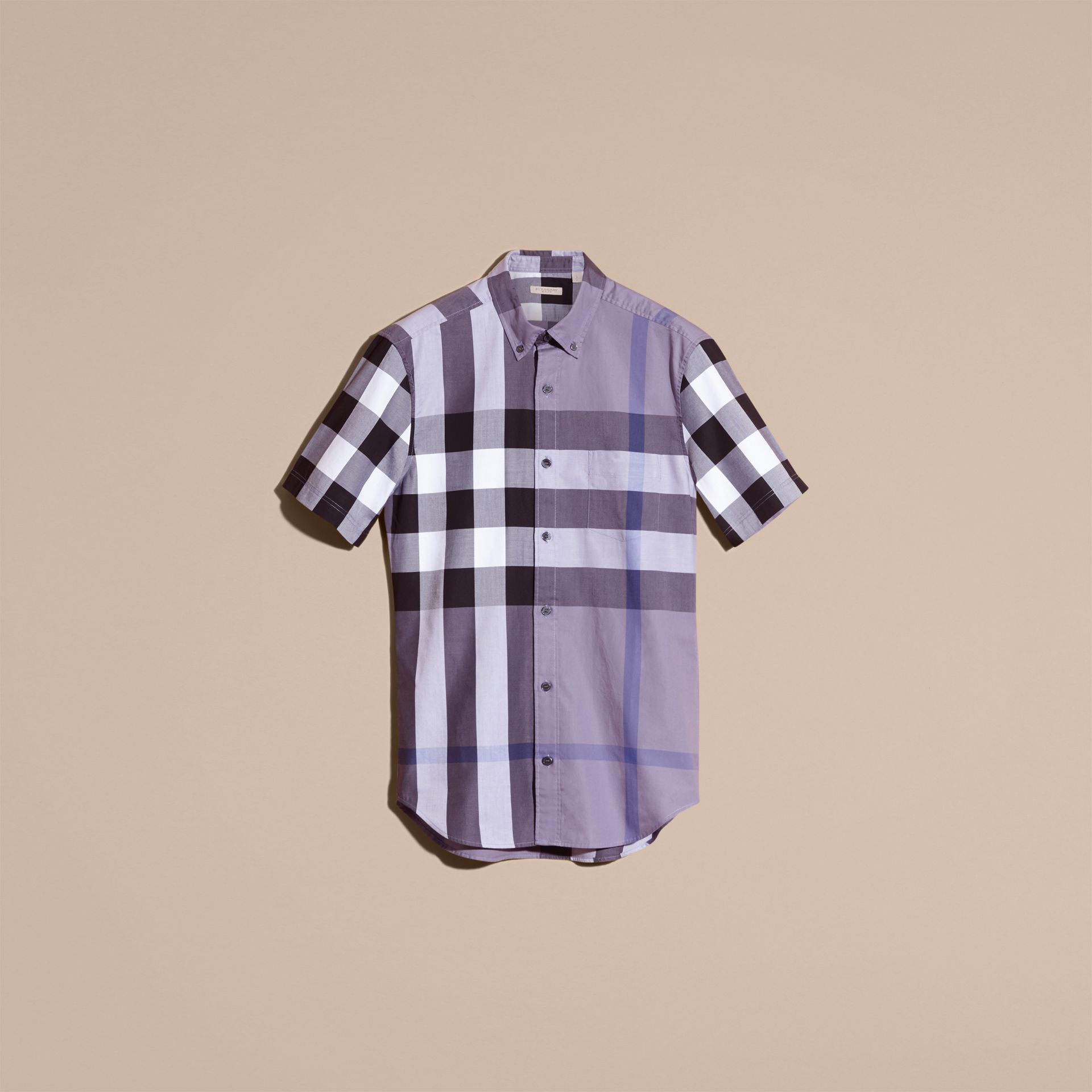 Lilac Short-sleeved Check Cotton Shirt Lilac - gallery image 4