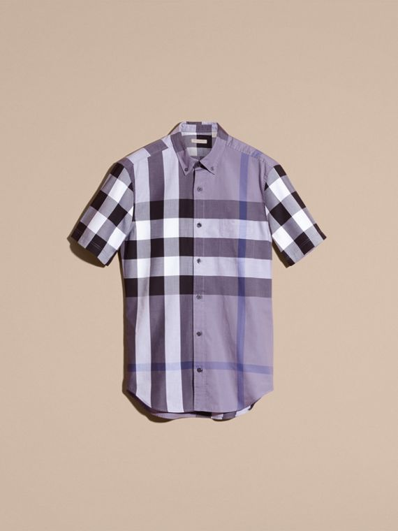 Lilac Short-sleeved Check Cotton Shirt Lilac - cell image 3