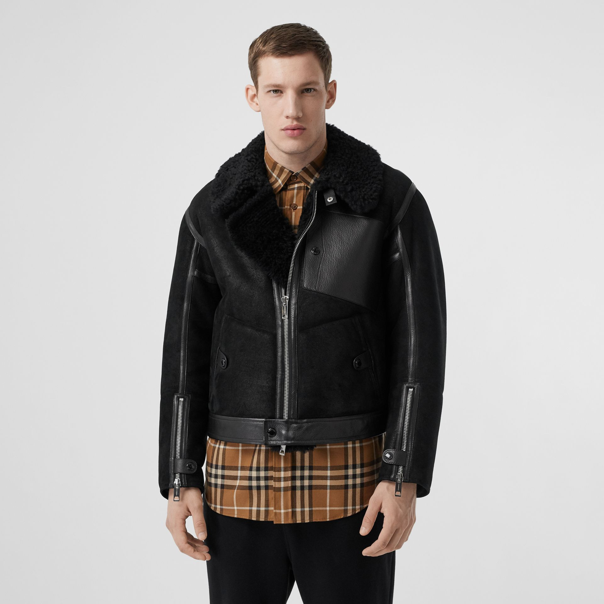 Shearling and Leather Jacket in Black - Men | Burberry - gallery image 6