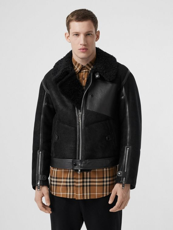 Shearling and Leather Jacket in Black