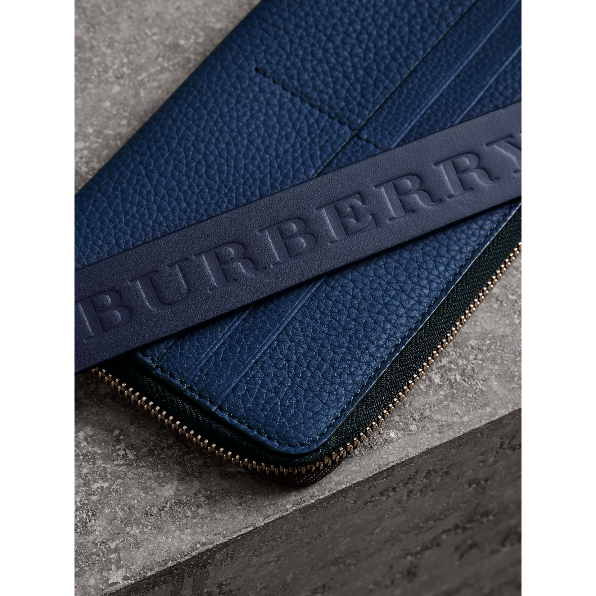 Grainy Leather Travel Wallet in Bright Ultramarine - Men | Burberry Australia - gallery image 1