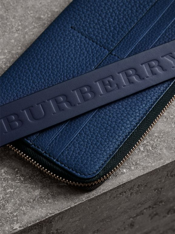 Grainy Leather Travel Wallet in Bright Ultramarine - Men | Burberry Australia - cell image 1
