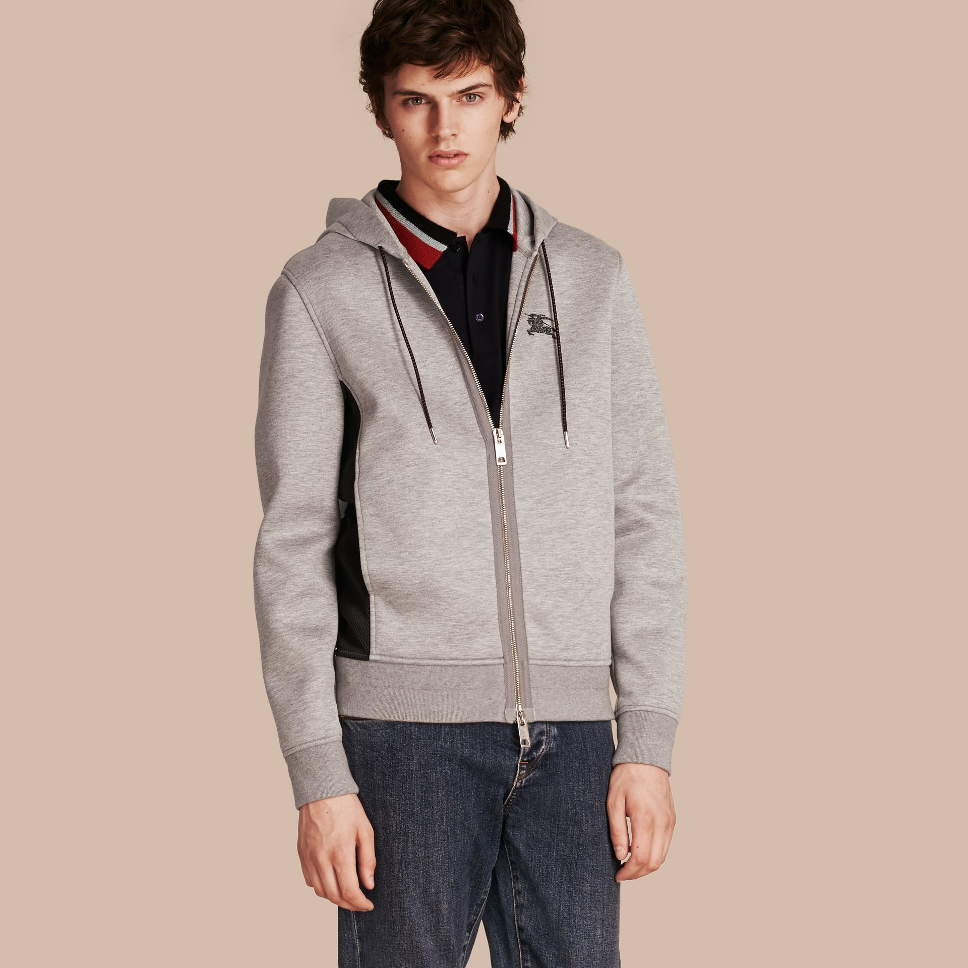 Two-tone Jersey Hooded Top Light Grey Melange - gallery image 1