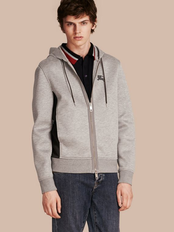 Two-tone Jersey Hooded Top Light Grey Melange