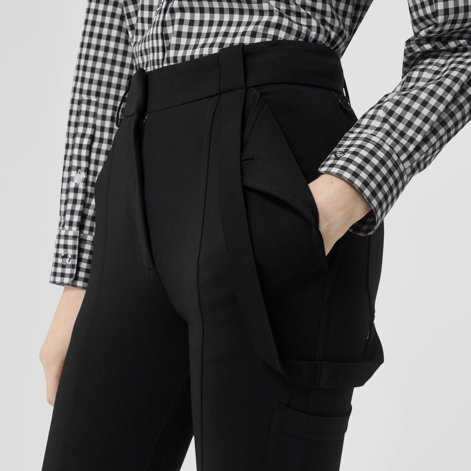 Strap Detail Stretch Crepe Jersey Trousers in Black - Women | Burberry - gallery image 1